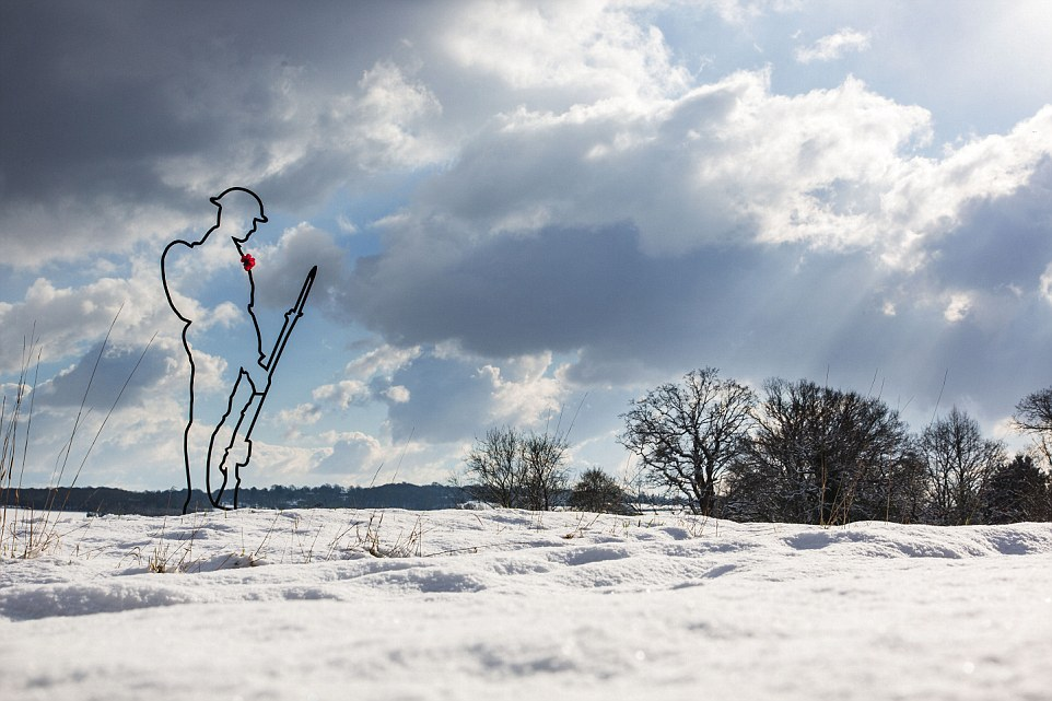 "Caption ""WW1 Tommies stand proud in the snowy Kent countryside as part of the launch of a new £15m fundraising campaign for armed forces and mental health charities. The campaign is called, There But Not There"" / Credit: There But Not There Charity Location: Penhurst, Kent"