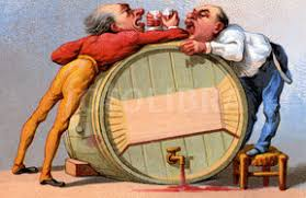 men drinking over baRREL